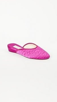 Olivia Morris At Home Poppy Eiderdown Slippers Raspberry Pink