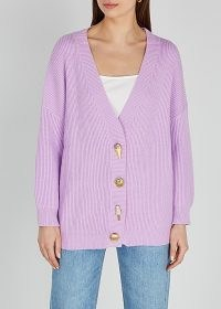 OLIVIA RUBIN Frankie lilac rib-knit cardigan ~ embellished button cardigans