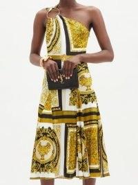 VERSACE One-shoulder Baroque-print twill midi dress ~ asymmetric neckline dresses ~ bold prints ~ evening wear