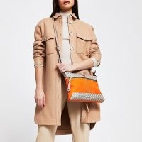 River Island Orange pocket front cross body messenger bag | bright crossbody bags
