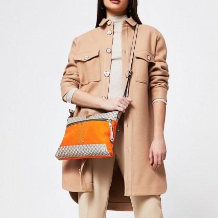 River Island Orange pocket front cross body messenger bag | bright crossbody bags - flipped