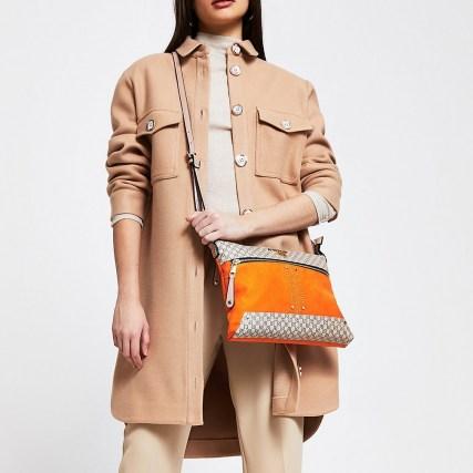 River Island Orange pocket front cross body messenger bag | bright crossbody bags