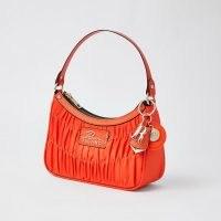RIVER ISLAND Orange satin ruched scoop shoulder bag / bright bags