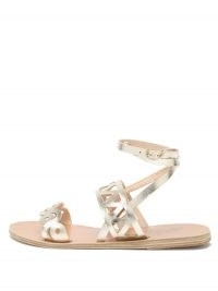 ANCIENT GREEK SANDALS Ostria cut-out leather sandals | strappy metallic gold flats