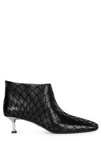 PACIOTTI Baby Lux 50 black leather ankle boots / fishnet overlay booties