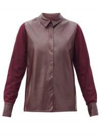 ROKSANDA Paden faux-leather and jersey shirt ~ burgundy shirts