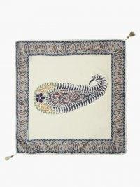 ETRO Paisley-print tasselled silk-satin scarf / printed scarves