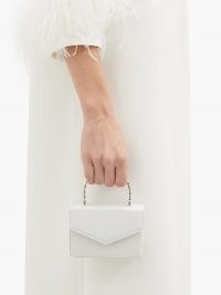 AMINA MUADDI Pernille crystal-handle mini leather box bag ~ tiny white event handbags ~ small top handle evening bags