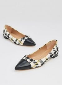 L.K. BENNETT PERTH HOUNDSTOOTH TWEED TOE CAP FLATS / checked point toe flats