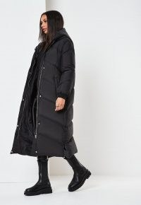 MISSGUIDED petite black midaxi puffer coat ~ longline hooded coats ~ padded outerwear