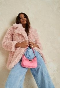 MISSGUIDED pink curly borg teddy coat ~ textured winter coats