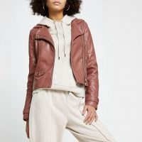 RIVER ISLAND Pink faux leather double zip biker jacket ~ casual zip detail jackets