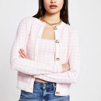 RIVER ISLAND Pink houndstooth knit cardigan ~ checked cardigans