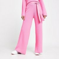 RIVER ISLAND Pink loungewear wide leg knit trousers