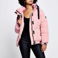RIVER ISLAND Pink puffer long sleeve jacket – padded jackets