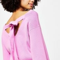 RIVER ISLAND Pink tie bow back loungewear knit top