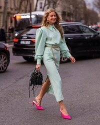Green and pink street style outfits