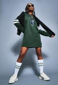 playboy x missguided green varsity bunny long sleeve t shirt dress ~ casual dresses