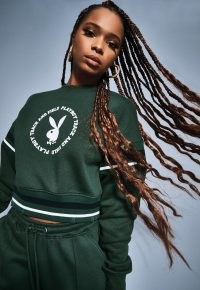 playboy x missguided green varsity graphic cropped sweatshirt ~ crop hem sweatshirts ~ bunny logo top
