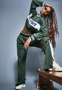 playboy x missguided green varsity tricot tracksuit top ~ cropped track tops