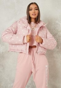 playboy x missguided pink all over printed puffer coat ~ padded logo print coats