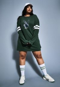 playboy x missguided plus size green varsity bunny long sleeve t shirt dress ~ casual curvy dresses
