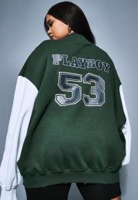 playboy x missguided plus size green varsity high neck sweatshirt ~ curvy fit logo sweatshirts
