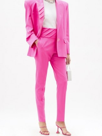 THE ATTICO Pleated high-rise wool-blend trousers ~ high waist pink pants - flipped