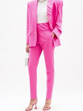 THE ATTICO Pleated high-rise wool-blend trousers ~ high waist pink pants