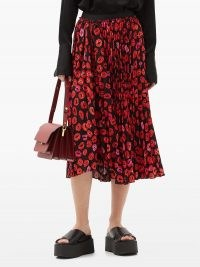 MARNI Pleated lip-print crepe midi skirt ~ asymmetric hemline skirts