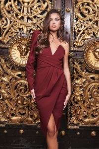 LAVISH ALICE pleated waist one sleeve midi dress in burgundy ~ asymmetric wrap style party dresses