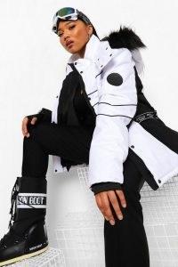 boohoo Plus Luxe Colourblock Ski Jacket ~ plus size winter sports jackets ~ monochrome outerwear