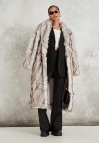 MISSGUIDED premium grey faux fur shawl coat ~ luxe style winter coats
