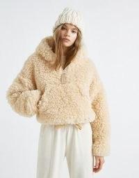 Pull&Bear cropped fluffy borg jacket in ecru
