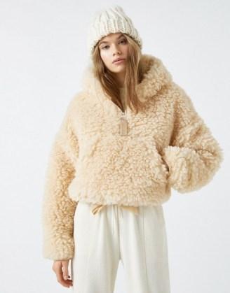 Pull&Bear cropped fluffy borg jacket in ecru - flipped