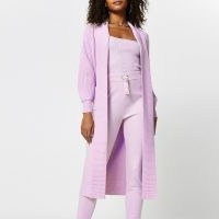 RIVER ISLAND Purple long sleeve maxi cardigan ~ longline open cardigans