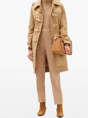 BURBERRY Quilted-panel wool-blend duffle coat in camel   classic winter coats - flipped