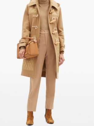 BURBERRY Quilted-panel wool-blend duffle coat in camel   classic winter coats
