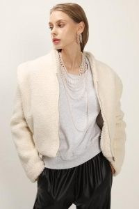 storets Phoebe Structured Teddy Jacket / cropped ivory faux fur jackets