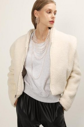 storets Phoebe Structured Teddy Jacket / cropped ivory faux fur jackets - flipped