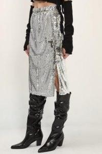 storets Amelia Sequin Slit Skirt / glittering silver skirts / shimmering metallics