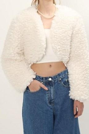 storets Lucy Fuzzy Crop Cardi Jacket / textured faux fur bolero jackets - flipped