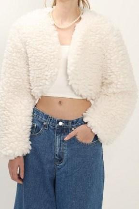 storets Lucy Fuzzy Crop Cardi Jacket / textured faux fur bolero jackets