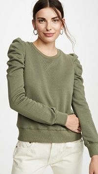 Rebecca Minkoff Janine Sweatshirt ~ green ruched sleeve sweatshirts