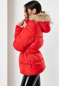 Missguided red faux fur hood belted puffer coat | bright padded winter coats