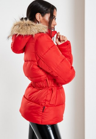 Missguided red faux fur hood belted puffer coat   bright padded winter coats - flipped