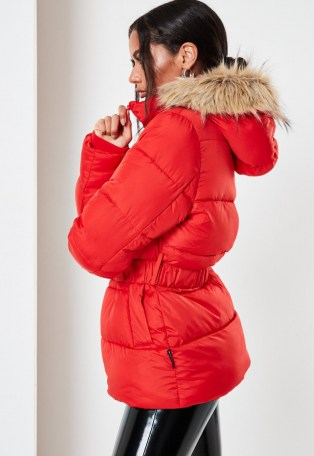 Missguided red faux fur hood belted puffer coat   bright padded winter coats