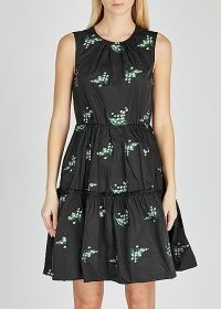 RED VALENTINO Black floral-embroidered taffeta dress ~ tiered fit and flare dresses ~ lbd