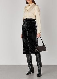 REJINA PYO Taylor black shell midi skirt / pencil skirts