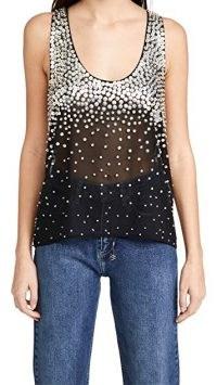 Retrofete Marissa Sequin Tank Black/Silver ~ sequinned sleeveless top